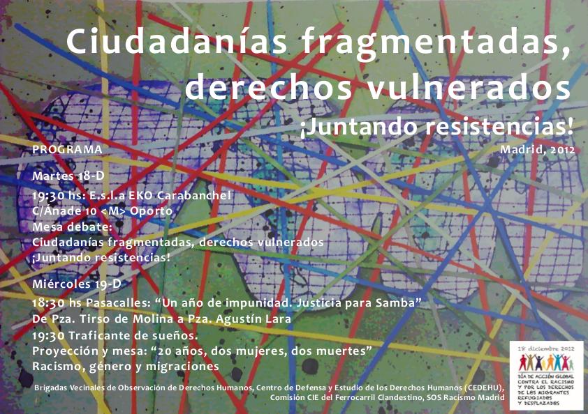 Cartel de las jornadas: Ciudadanías fragmentadas, derechos vulnerados