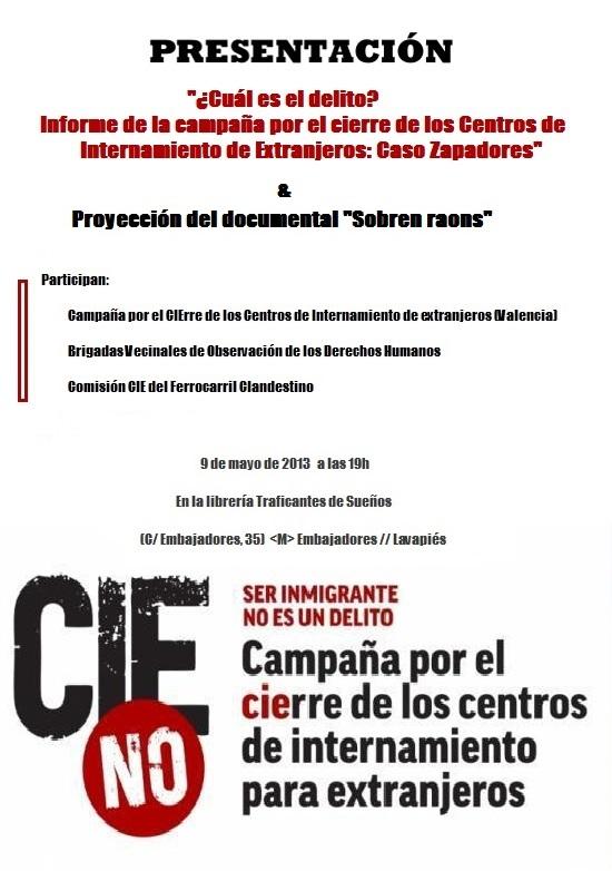 Cartel CIEsNO Valencia